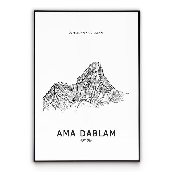 Ama Dablam Mountain Poster Wall Art
