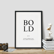 Load image into Gallery viewer, Bold - Word Poster Wall Art