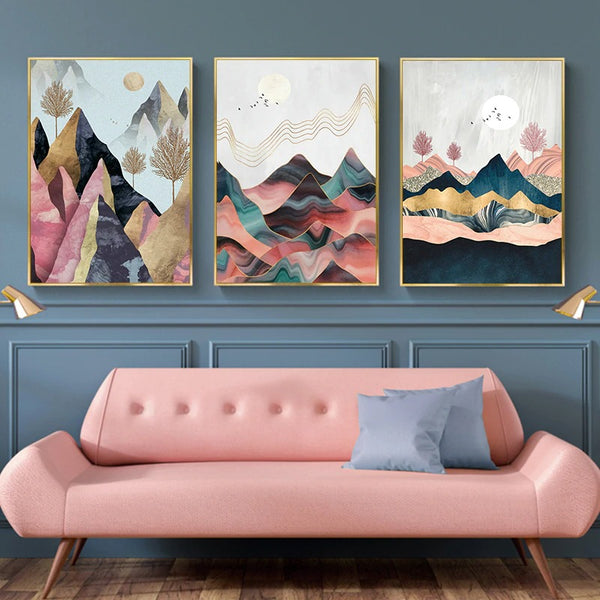 Abstract Mountain Landscape Poster Wall Art 1A