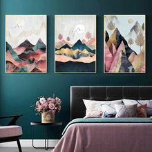 Load image into Gallery viewer, Abstract Mountain Landscape Poster Wall Art 3PCS