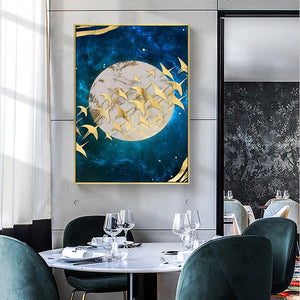 Abstract Moon and Golden Birds Wall Art Poster