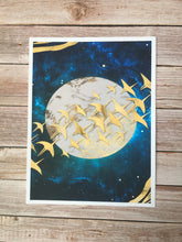 Load image into Gallery viewer, Abstract Moon and Golden Birds Wall Art Poster