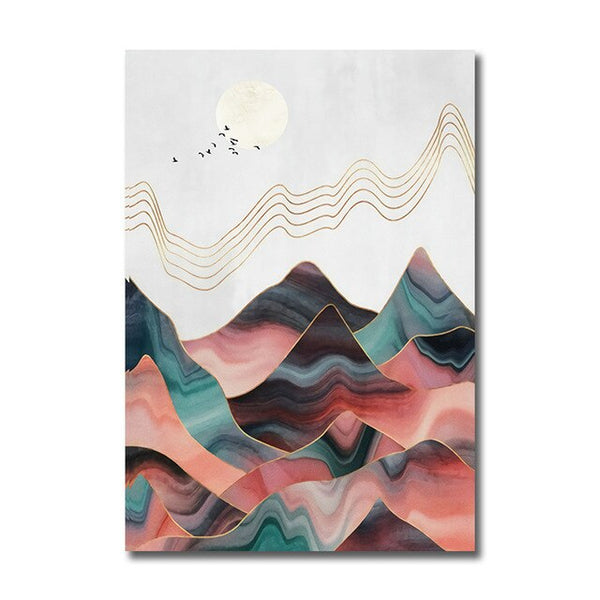 Abstract Mountain Landscape Poster Wall Art 1B