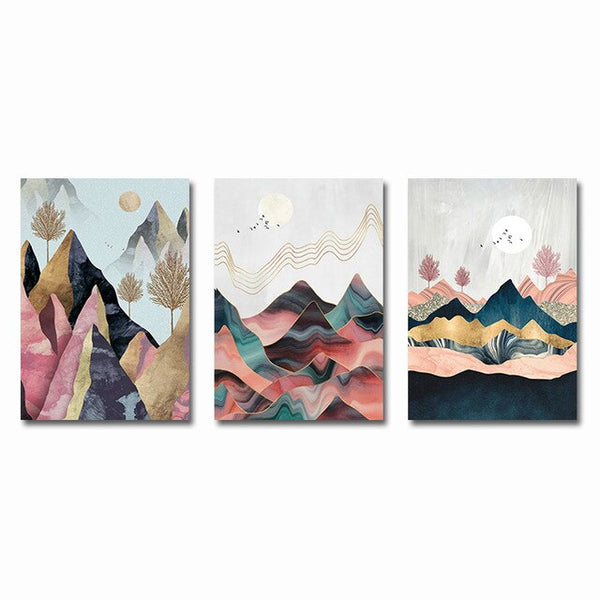 Abstract Mountain Landscape Poster Wall Art 3PCS