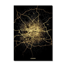 Load image into Gallery viewer, London Gold Black City Map Wall Art