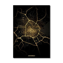 Load image into Gallery viewer, Amsterdam Gold Black City Map Wall Art