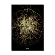 Load image into Gallery viewer, Rome Gold Black City Map Wall Art