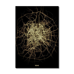 Rome Gold Black City Map Wall Art