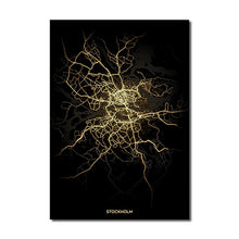 Load image into Gallery viewer, Stockholm Gold Black City Map Wall Art