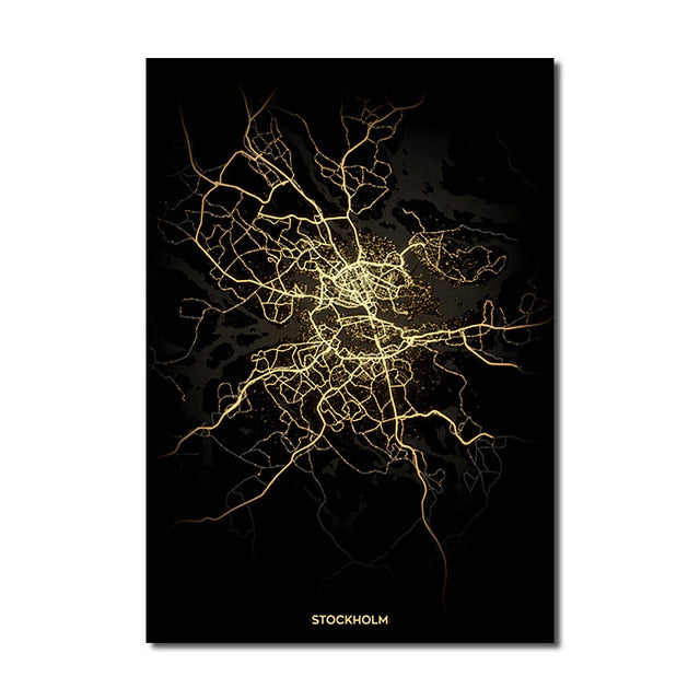 Stockholm Gold Black City Map Wall Art