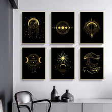Load image into Gallery viewer, Black Gold Wall Art E