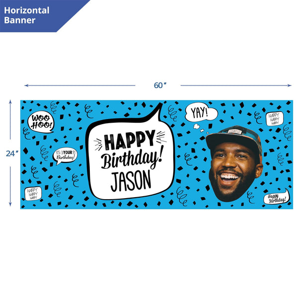 blue birthday confetti banner
