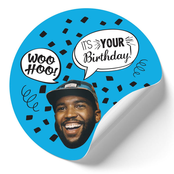 blue birthday confetti stickers (qty 12)