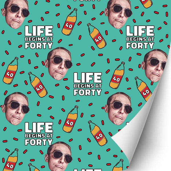 life begins at 40 gift wrap