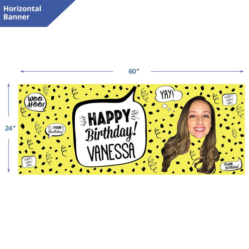 Yellow Confetti Birthday Banner