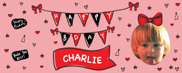 red polka birthday banner
