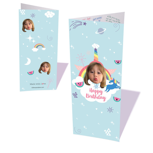 rainbows & unicorns birthday card