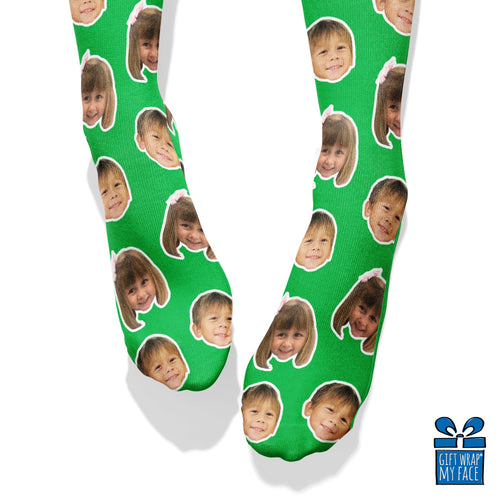 Green Custom Face Socks