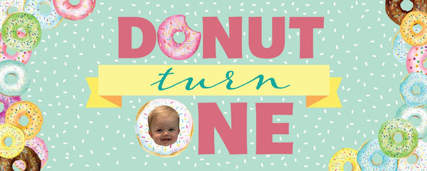 donut turn one birthday banner