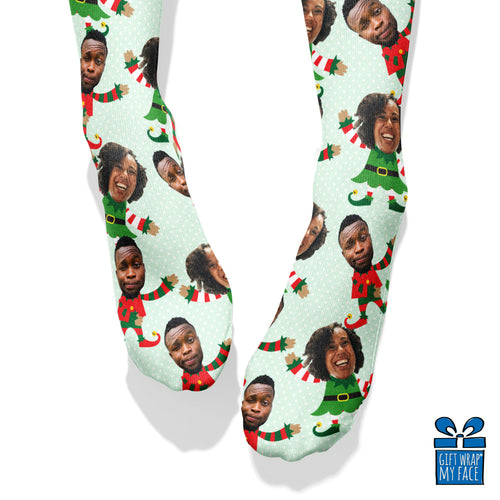 Elfie Selfie Boy & Girl Duo Custom Face Socks