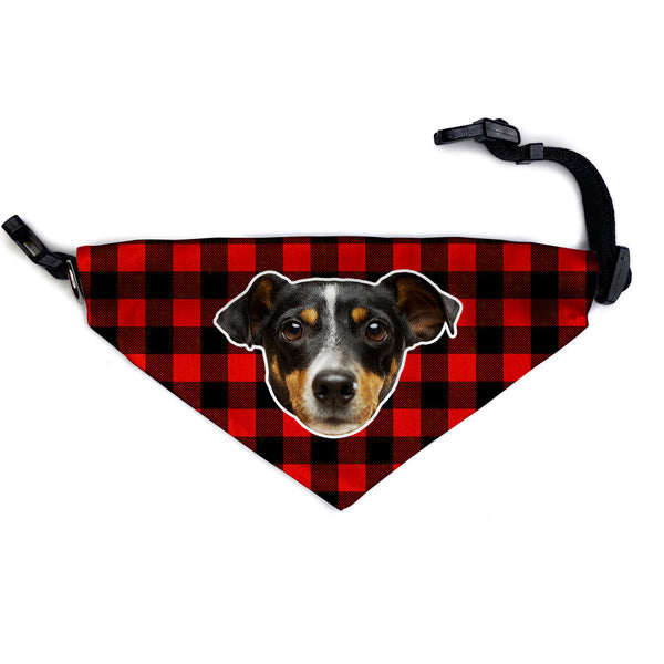 red plaid custom dog bandana