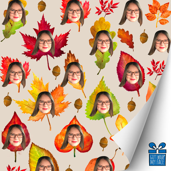 fall leaves custom gift wrap