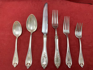 Flatware. 1847 Rogers.Bros. XS Triple, Old Colony,      6pc place setting.