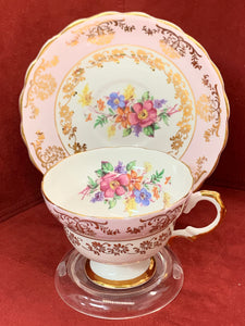 Consort. England. Cup and Saucer. Pink and White with Mixed Floral