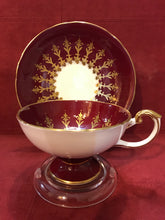 Load image into Gallery viewer, Aynsley, England.  Cup and Saucer.  Burgundy/Gold