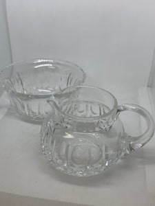 Edinborough,Scotland. Crystal.  Creamer and Open Sugar Bowl. Cross and Olives