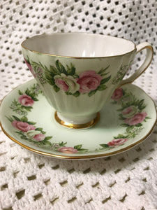 Colclough, England.  Soft Mint Glaze with Pink and Cream Roses.