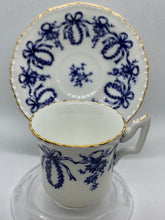 Load image into Gallery viewer, Coalport, England. Hope's Time and Again. White/Cobalt Blue. Demitasse Cup and Saucer