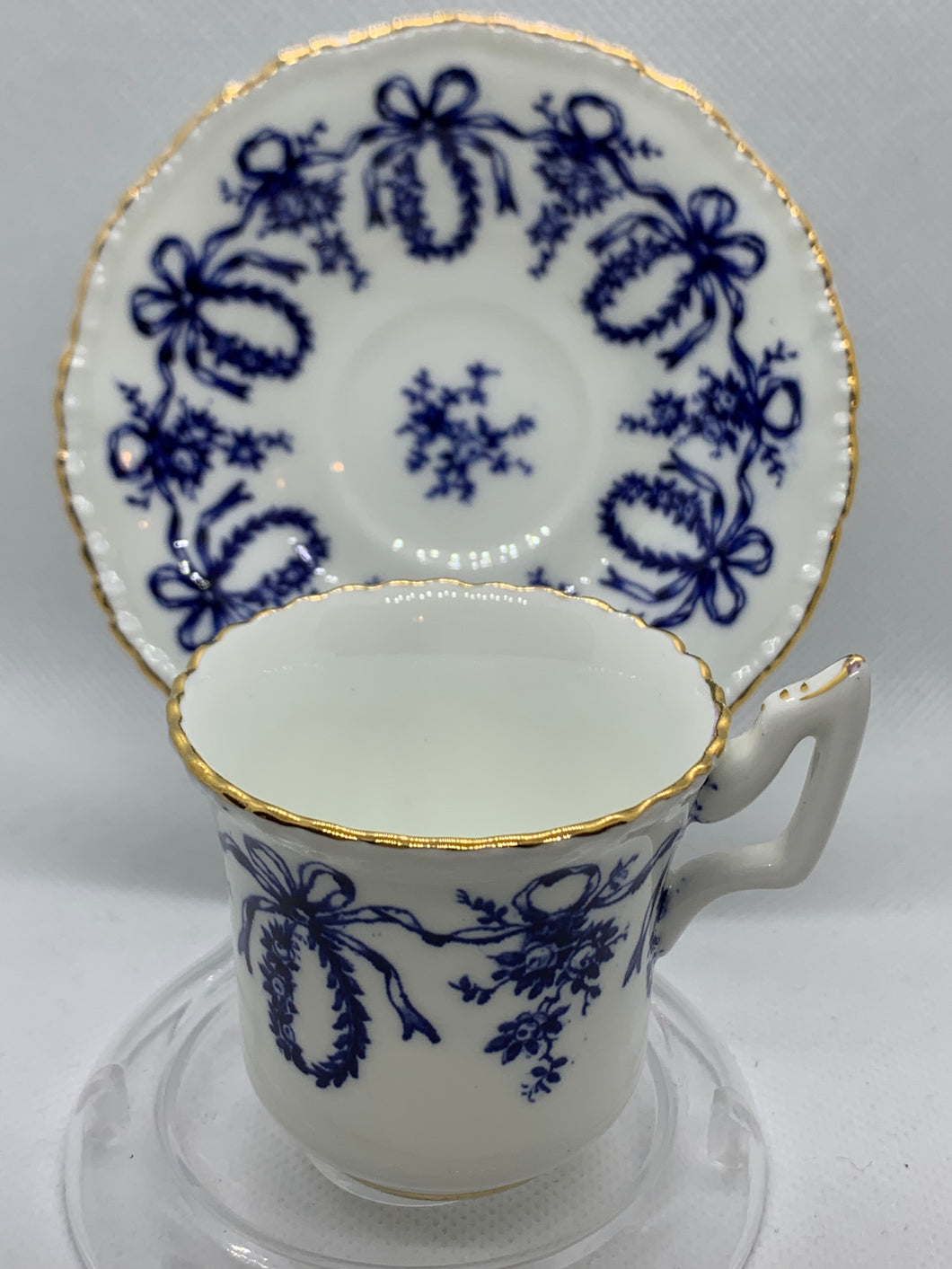 Coalport, England. Hope's Time and Again. White/Cobalt Blue. Demitasse Cup and Saucer