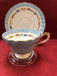 Aynsley, England. Cup and Saucer. Prairie Flowers and Wheat, Blue