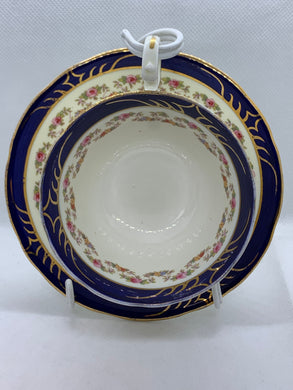 Aynsley. England. Cup and Saucer. Cobalt Blue, band of mixed floral