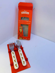 "Royal Doulton. England. ""Bunnykins"".  Set of Flatware- Spoon and Fork- Boxed Set"