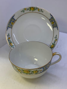 Nippon. Japan. Cup and Saucer. Yellow Roses.