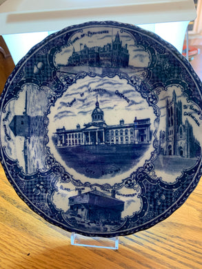 Collector Plate. England. Blue and White. View of Kingston Ontario