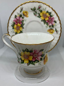 Paragon, Cup and Saucer, Wild Roses-Yellow and Pink