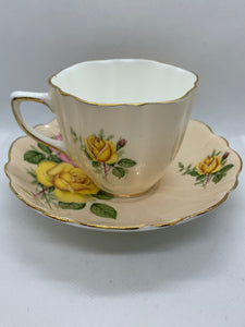 Old Royal, England. Cup and Saucer. Large Yellow and Pink Roses