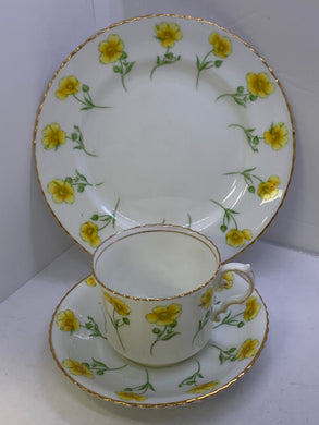 Aynsley. England. Trio- Cup and Saucer. With side plate.   Buttercups.