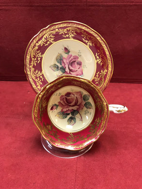Paragon, Cup and Saucer, Burgendy with large pink rose