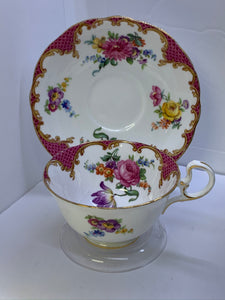 Aynsley. England. Cup and Saucer.  Mixed Floral/Pink