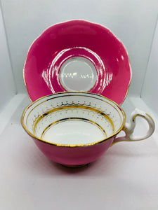 Royal Albert Crown China. England. Cup and Saucer. Dark Pink