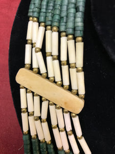 Necklace, Indigenous, Bone Bead, Multi-Strand, VIntage