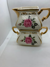 Load image into Gallery viewer, Ellgreave, Burslem, England. Pink Roses. Creamer and Sugar