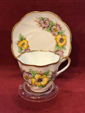 Salisbury, England. Cup and Saucer.  Bearded Pansies