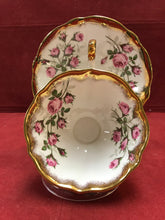 Load image into Gallery viewer, Queen Anne. England. Cup and Saucer.  Pink Roses, Gold Trim