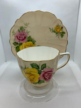 Load image into Gallery viewer, Old Royal, England. Cup and Saucer. Large Yellow and Pink Roses