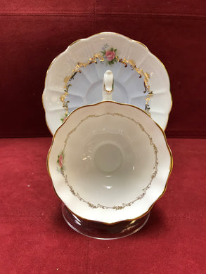 Royal Albert, England. Cup and Saucer. Invitation Series, Sky Blue with Roses